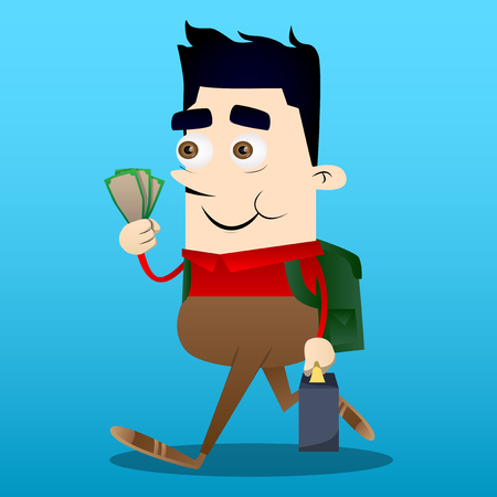 Schoolboy as boss with suitcase or bag holding or showing money bills. Vector cartoon character illustration. Ilustração