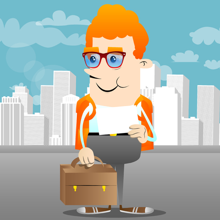 Schoolboy with suitcase and white paper. Vector cartoon character illustration.