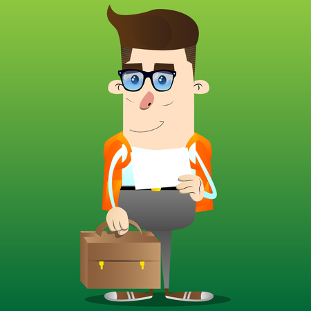 Schoolboy with suitcase and white paper. Vector cartoon character illustration. 版權商用圖片 - 109612494