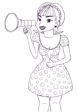 Girl making announcement with megaphone or loudspeaker. Ilustrace
