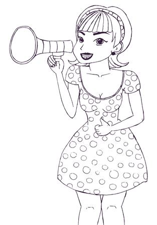Girl making announcement with megaphone or loudspeaker. Illustration