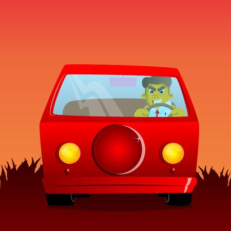 Yellow man driving, holding a steering wheel. Vector cartoon illustration. Illustration
