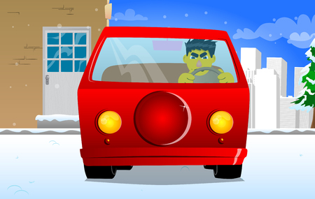 Yellow man driving, holding a steering wheel. Vector cartoon illustration. Illustration