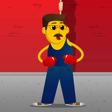 Yellow man holding his fists in front of him ready to fight wearing boxing gloves. Vector cartoon illustration. Ilustração