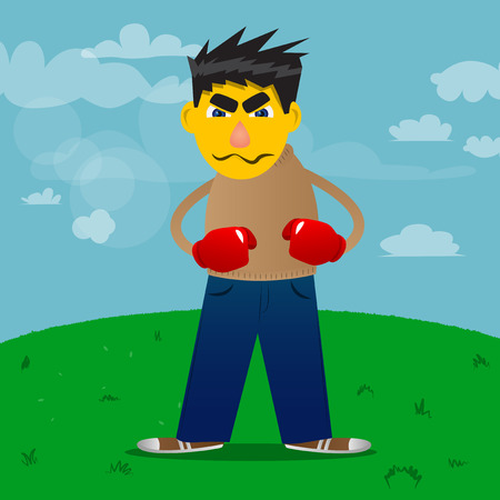 Yellow man holding his fists in front of him ready to fight wearing boxing gloves. Vector cartoon illustration.  イラスト・ベクター素材