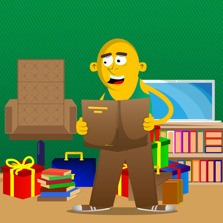 Yellow man reading a book. Vector cartoon illustration.