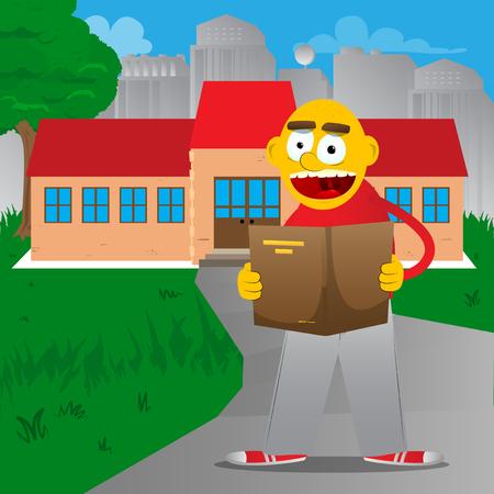 Yellow man reading a book. Vector cartoon illustration.