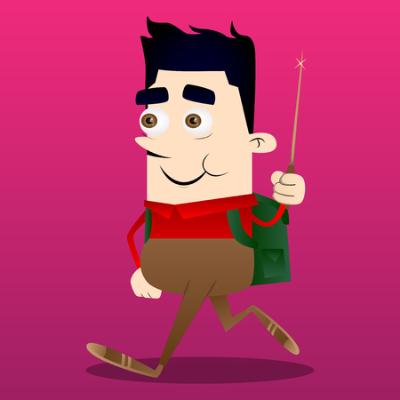 Schoolboy with a magic wand. Vector cartoon character illustration. Stock Illustratie