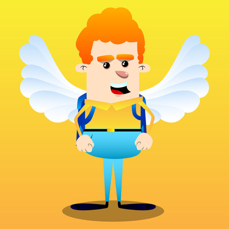 Schoolboy as an angel, with big white wings. Vector cartoon character illustration.