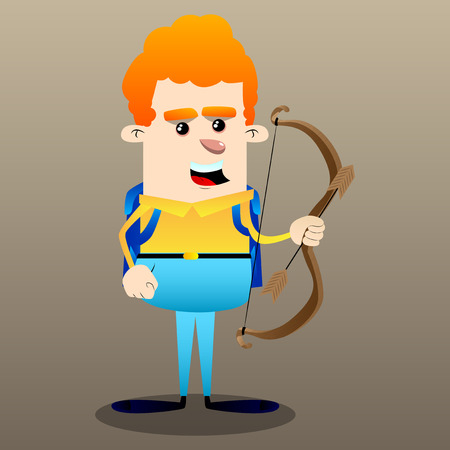 Schoolboy with bow and arrow. Vector cartoon character illustration. Zdjęcie Seryjne - 110115204