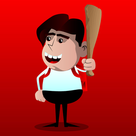 Schoolboy holding wooden club in his hand. Vector cartoon character illustration. Illustration