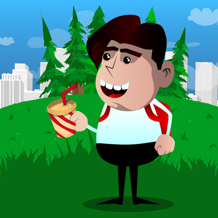 Schoolboy holding a paper cup of coffee. Vector cartoon character illustration.