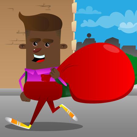 Schoolboy carrying big red Santas Christmas sack. Vector cartoon character illustration.  イラスト・ベクター素材