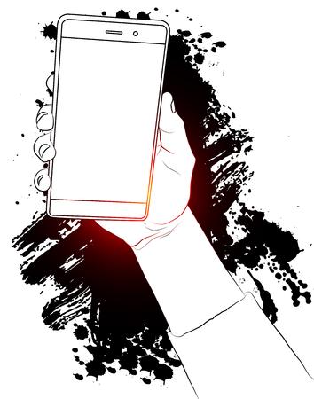 Mano que sostiene el teléfono móvil blanco con pantalla en blanco. Dibujo con salpicaduras en el fondo.