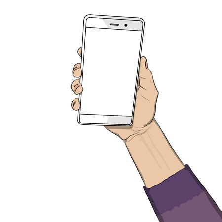 Main tenant un téléphone portable blanc avec écran blanc. Cartoon pop art retro vector illustration dessin dans le style bande dessinée. Vecteurs