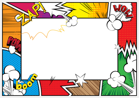 Pop Art background with place for text. Comic book frame. Cartoon retro vector illustration drawing for advertising. Illustration