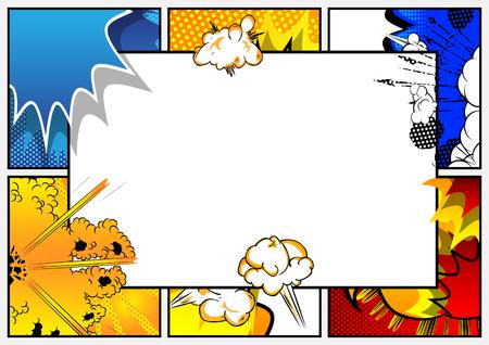 Pop-Art-Hintergrund mit Platz für Text. Comic-Buch-Rahmen. Cartoon-Retro-Vektor-Illustration-Zeichnung für die Werbung.