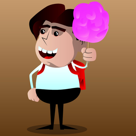 Schoolboy holding pink cotton candy. Vector cartoon character illustration.