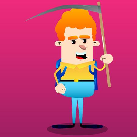 Schoolboy holding a scythe. Vector cartoon character illustration.