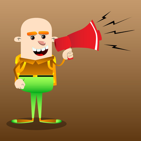 Schoolboy holding megaphone. Vector cartoon character illustration. Ilustração