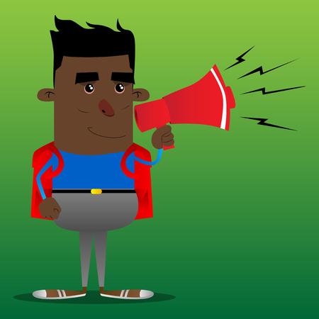 Schoolboy holding megaphone. Vector cartoon character illustration. Illustration