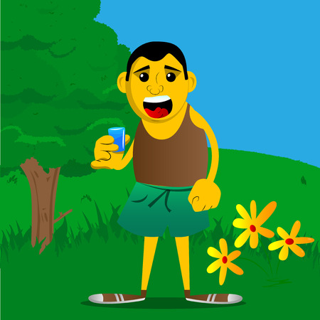 Yellow man drinking brandy. Vector cartoon illustration. 일러스트