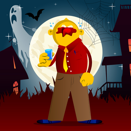 Yellow man drinking brandy. Vector cartoon illustration. Иллюстрация