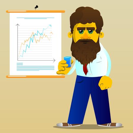 Yellow man drinking brandy. Vector cartoon illustration. Ilustração
