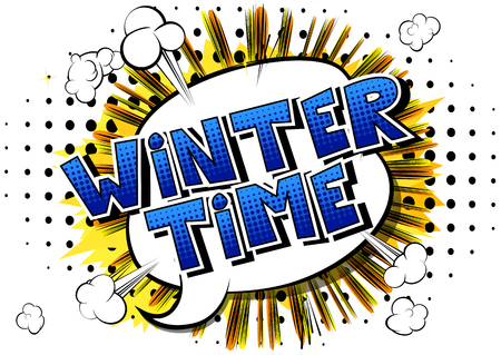 Winter Time - Vector illustrated comic book style phrase.