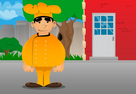 Fat male cartoon chef in uniform standing. Vector illustration. Stok Fotoğraf - 110510665