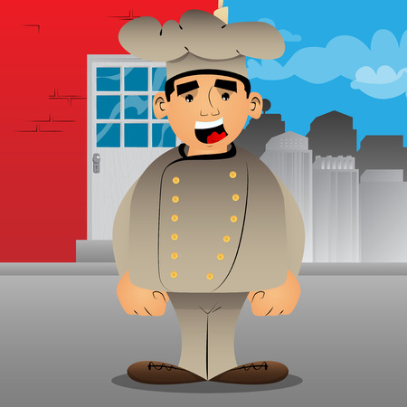 Fat male cartoon chef in uniform standing. Vector illustration. Çizim