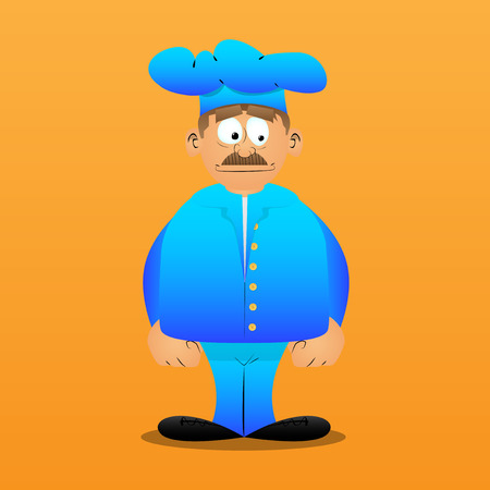 Fat male cartoon chef in uniform standing. Vector illustration. Stok Fotoğraf - 110510720