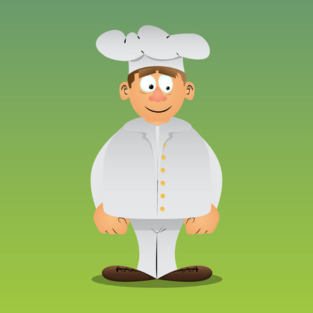 Fat male cartoon chef in uniform standing. Vector illustration. Stok Fotoğraf - 110510724