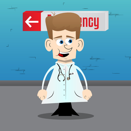 Funny cartoon doctor standing. Vector illustration. Çizim