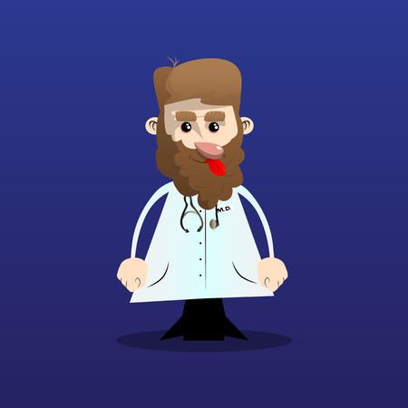 Funny cartoon doctor standing. Vector illustration. Stok Fotoğraf - 110510748