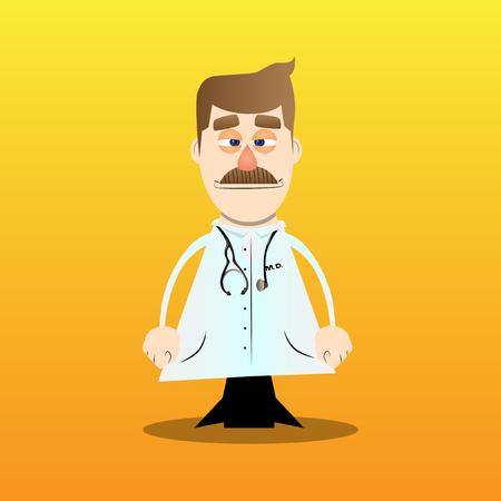 Funny cartoon doctor standing. Vector illustration. Stok Fotoğraf - 110510753