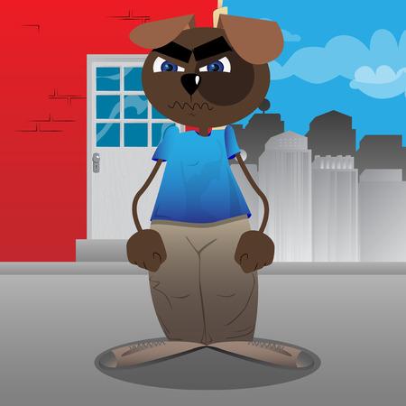 Funny cartoon dog standing. Vector illustration.