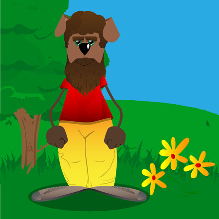 Funny cartoon dog standing. Vector illustration. Stock fotó - 110510817