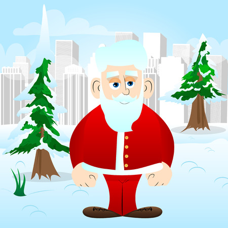 Santa Claus in his red clothes with white beard standing. Vector cartoon character illustration. Stok Fotoğraf - 110510858
