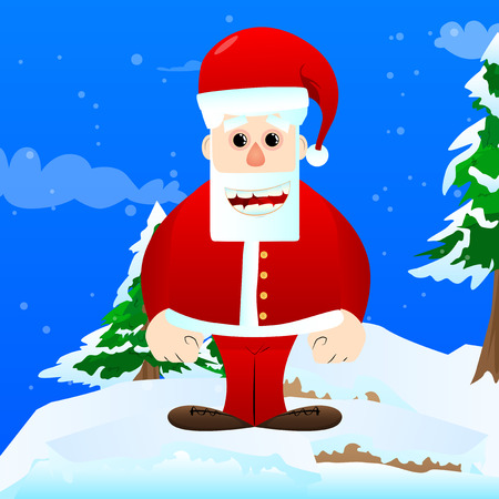 Santa Claus in his red clothes with white beard standing. Vector cartoon character illustration. Stok Fotoğraf - 110510864