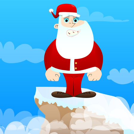 Santa Claus in his red clothes with white beard standing. Vector cartoon character illustration. Иллюстрация