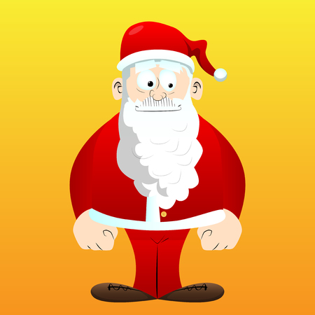 Santa Claus in his red clothes with white beard standing. Vector cartoon character illustration. Çizim