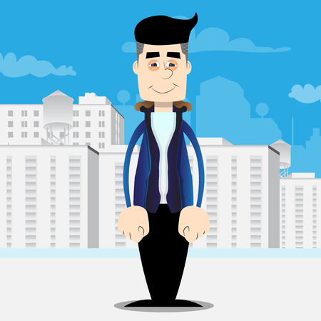 Funny cartoon man dressed for winter standing. Vector illustration.