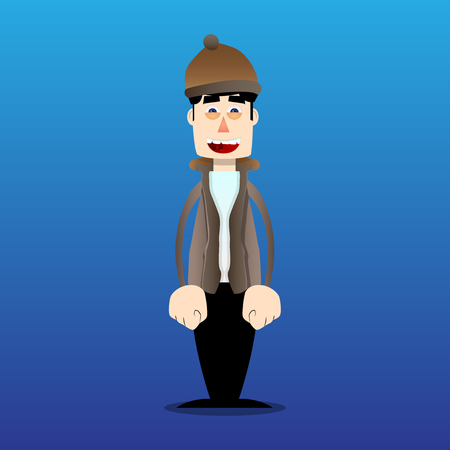 Funny cartoon man dressed for winter standing. Vector illustration. Фото со стока - 110510907