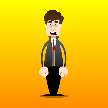 Funny cartoon man dressed for winter standing. Vector illustration.