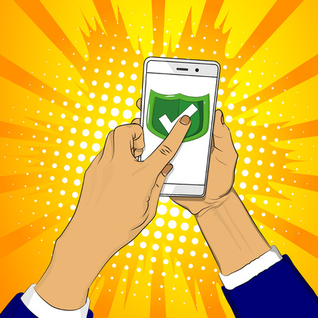 Hand holds smart phone with green shield and a finger touches the screen. Cartoon pop art retro vector illustration drawing in comic book style. Stock Illustratie
