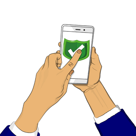 Hand holds smart phone with green shield and a finger touches the screen. Cartoon pop art retro vector illustration drawing in comic book style. Illustration