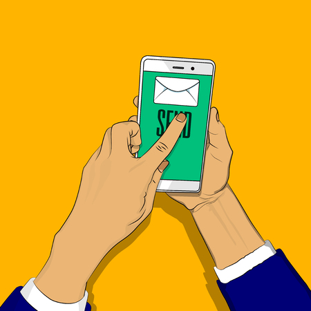 Hand holding phone with letter and send button on the screen, a finger touches the send button. Vector illustrated retro comic book cartoon for advertisement, web sites, banners, infographics design. 向量圖像