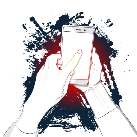 Hand holds smart phone with white screen and a finger touches the display. Cartoon pop art retro vector illustration drawing with splash on the background. Comic book style illustration for advertisement, web sites, banners, infographics design. Çizim