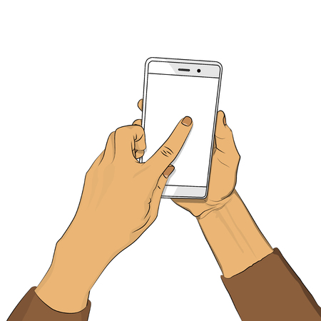 Hand holds smart phone with white screen and a finger touches the display. Cartoon pop art retro vector illustration drawing in comic book style for advertisement, web sites, banners, infographics design.